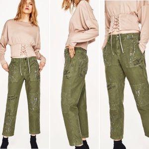 Zara Green Paint Splatter Graffiti Pants